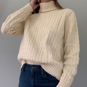 Tommy Hilfiger yellow cableknit turtleneck sweater